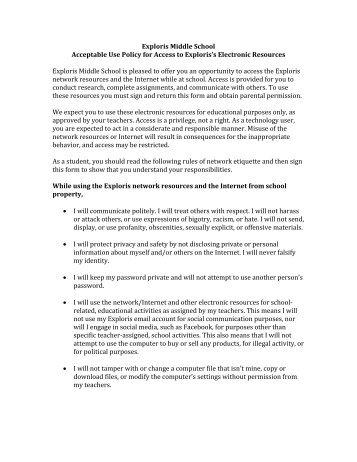 Exploris Acceptable Technology Use Policy - Exploris Middle School