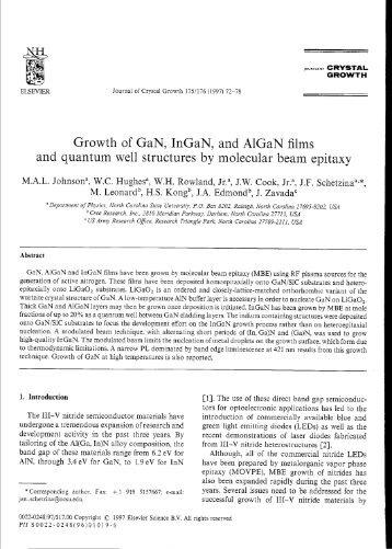 Growth of GaN, InGaN, and AlGaN films