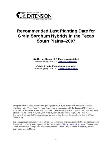 Recommended Last Planting Date for Grain Sorghum Hybrids in the ...