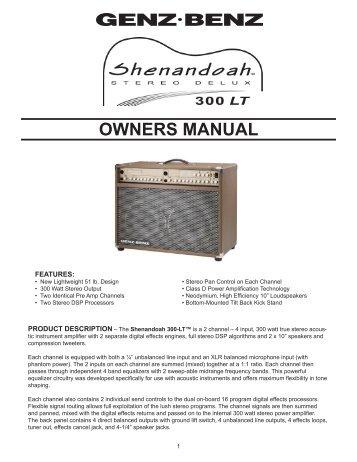 Shenandoah 300 LT Manual - Genz Benz