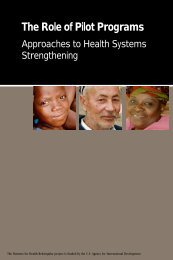 The Role of Pilot Programs: Approaches to Health Systems ...