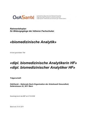 dipl. biomedizinischer Analytiker HF - OdA Gesundheit Bern