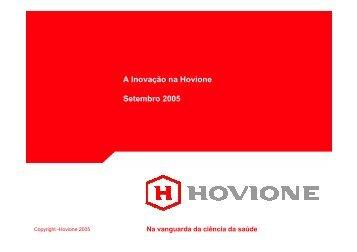 A Inovação na Hovione Setembro 2005