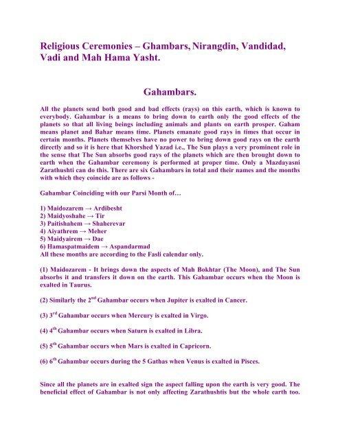 Religious Ceremonies – Ghambars,Nirangdin, Vandidad, Vadi