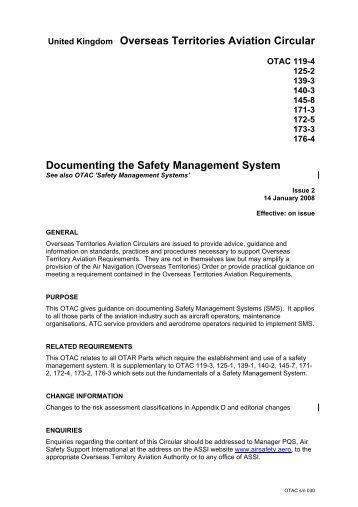 UK Overseas Territories Aviation Circular (OTAC) - Air Safety ...