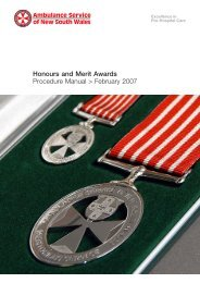Honours & Merit Award - Ambulance Service of NSW