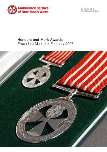 Honours & Merit Award - Ambulance Service of NSW