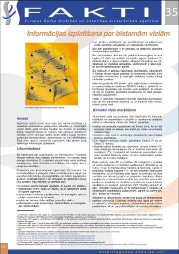Informācijas izplatīšana par bīstamām vielām - Eiropas darba ...