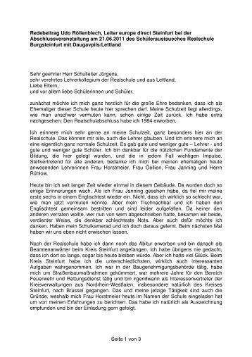 Seite 1 von 3 Redebeitrag Udo Röllenblech, Leiter ... - EU-Direct