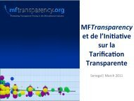 MFTransparency et de l'Ini8a8ve sur la Tarifica8on Transparente