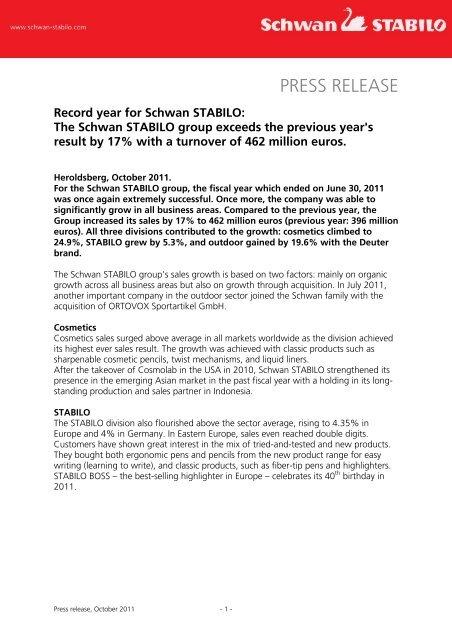 Record year for Schwan STABILO