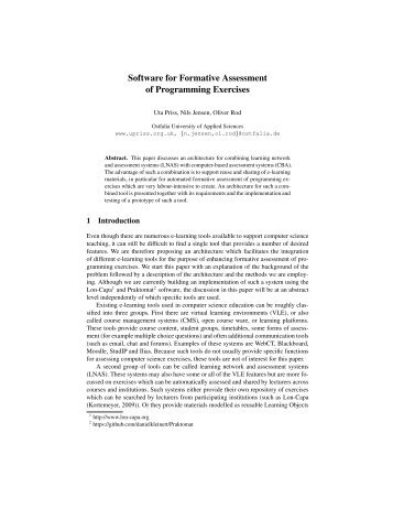 Software for Formative Assessment of Programming ... - Uta Priss