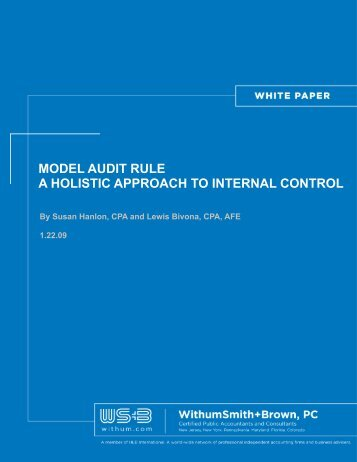 model audit rule a holistic approach to internal control - Withum
