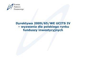 Dyrektywa 2009/65/WE UCITS IV – wyzwania dla polskiego rynku ...