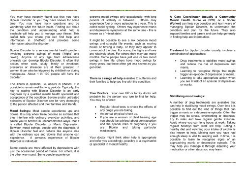 Bipolar Disorder information leaflet  - Sheffield Health and