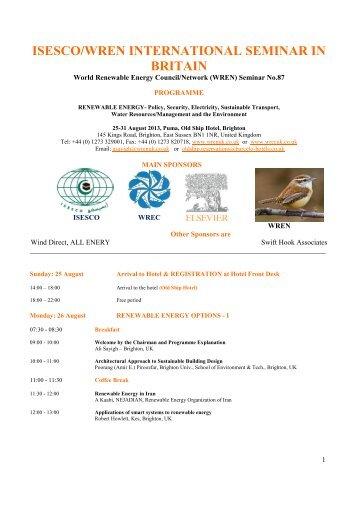 Programme - World Renewable Energy Congress / Network (WREC ...