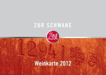Weinkarte 2012 - Hotel Zur Schwane