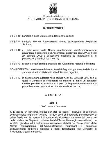 Concorso ARS n. 2 posti di Segretario parlamentare - Assemblea ...