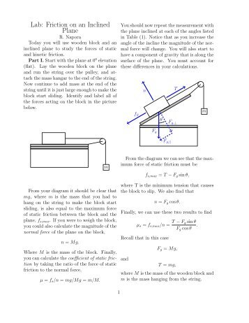 science friction lab report Answer to experiment: static friction aim: to determine the coefficient of  home  / study / science / physics / physics questions and answers / experiment: static.