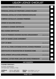 LIQUOR LICENCE CHECKLIST - ArtisanOz Consulting