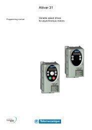 Variable speed drives Altivar 31 Programming Manual - Elmatik AS