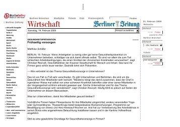 Berliner Zeitung 19. Februar 2005 - MundA Gesellschaft für Mensch ...