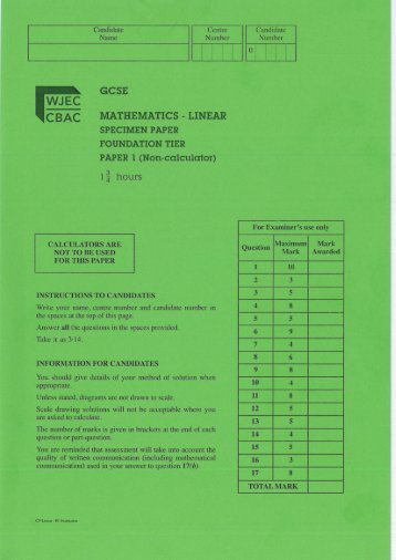 GCSE Maths - Linear Specimen Paper (F) Tier ... - Furness Academy