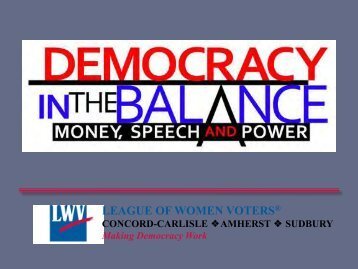 Money in Politics - League of Women Voters of Massachusetts