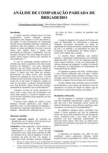análise de comparação pareada de brigadeiro - Eventosufrpe.com.br