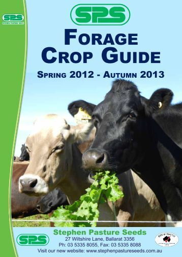 FORAGE CROP GUIDE - Stephen Pasture Seeds