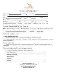 Membership form - Next Level Fitness
