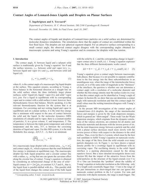 Contact Angles of Lennard-Jones Liquids and ... - ResearchGate