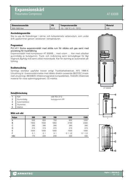 Produktbladför Expansionskärl - Pneumatex Compresso - Armatec