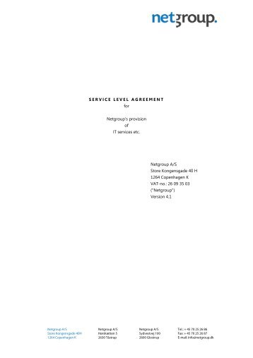 SERVICE LEVEL AGREEMENT for Netgroup's provision of IT ...