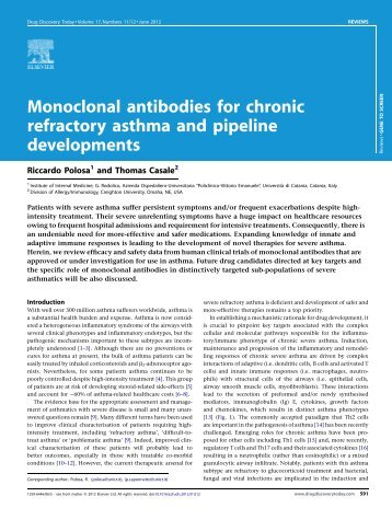 Monoclonal antibodies for chronic refractory asthma and pipeline ...