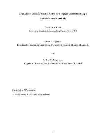 Evaluation of Chemical-Kinetics Models for n-Heptane Combustion ...