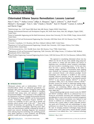 Chlorinated Ethene Source Remediation: Lessons Learned - ITRC