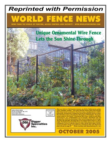 from World Fence News 04/2008 - Digger Specialties, Inc.