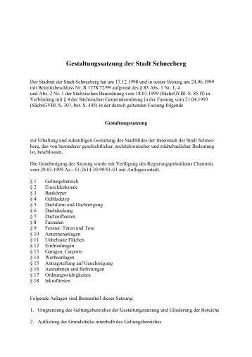 Gestaltungssatzung der Stadt Schneeberg