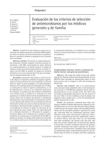 Evaluación de los criterios de selección de antimicrobianos ... - Seq.es