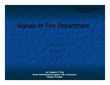 Signals to Fire Department - Building Officials' Association of BC