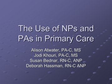 The Use of NPs and PAs in Primary Care - NorthShore Emergency ...