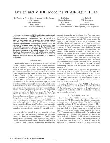 Design and VHDL Modeling of All-Digital PLLs - SoC - LIP6
