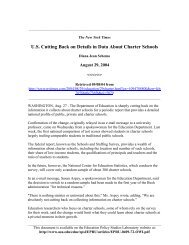 US Cutting Back on Details in Data About Charter Schools - National ...