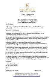 Unsere Arrangements 2009 - Schlosshotel