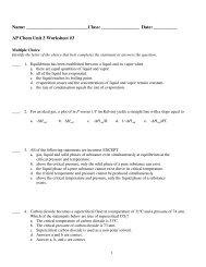AP Chem Unit 3 Worksheet #3 - Portage School's Moodle