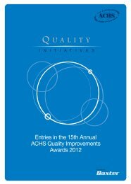 Entries in the 15th Annual ACHS Quality Improvements Awards 2012
