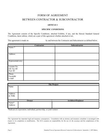 to view and print Special Conditions-Standard Subcontract - General ...
