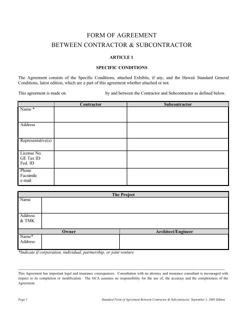 To View And Print Special Conditions Standard Subcontract General