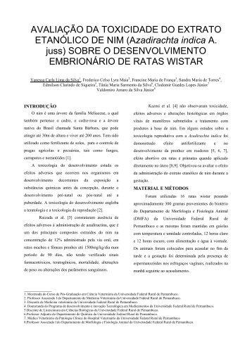 AVALIAÇÃO DA TOXICIDADE DO EXTRATO ETANÓLICO DE NIM ...